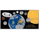 8 vzácných kovů v jedné minci symbolizujících naši sluneční soustavu