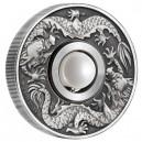 Čínské znamení draka s rotující perlou ve středu mince