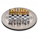 Královská hra šachy - atraktivní vyobrazení šachovnice s figurami na exkluzivní stříbrné minci
