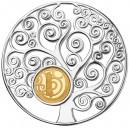 Strom života Gustava Klimta  - mincovní skvost ze stříbra a zlata parciálně  zušlechtěný vzácným rhodiem