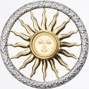 Slunce symbol a zdroj života  - mincovní skvost ze stříbra a zlata parciálně  zušlechtěný vzácným rhodiem