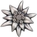 Horská hvězda Edelweiss - symbol Alp - vyosce vzácná květina alp na atraktivní stříbrné minci s vysokým reliéfem