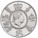 Nejdéle vládnoucí britský král Jiří III. na atraktivní stříbrné minci